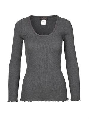 Rosemunde  5080 grey silk t-shirt regular ls w/elastic band
