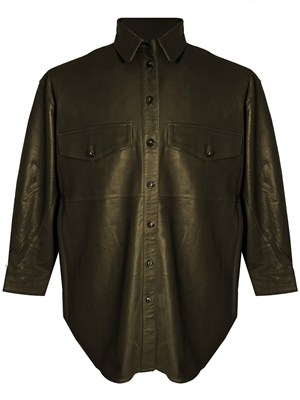 Agnes Thin Leather Shirt, Grøn - MDK