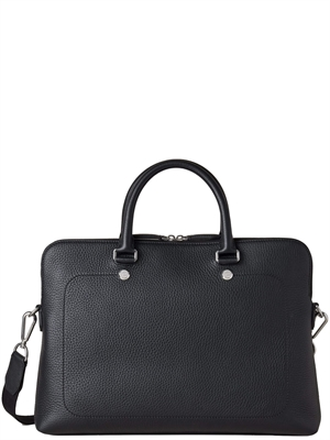 City Slim Briefcase Black Heavy Grain