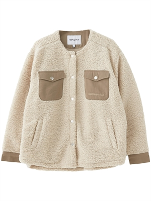 Checket Pile Shirt Jacket, Beige