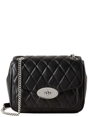 Mulberry Small Darley Shoulder Bag Black & Silver Toned Quilted Shiny Calf