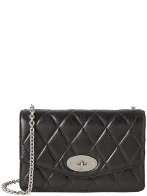 Mulberry Small Darley Black Quilted Shiny Calf