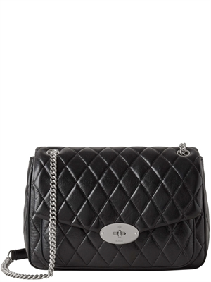 Mulberry Darley Shoulder Bag Black & Silver Toned Quilted Shiny Calf