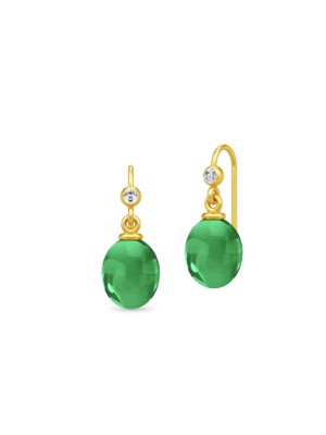 Julie Sandlau Ella Earrings Gold/Green X-Max HKS510GDEMCRCZ