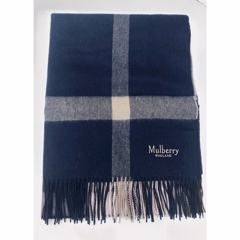 Mulberry Large Check Scarf Lambswool Dark Navy - Icy Pink VS4246-774Z856