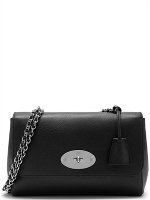 Mulberry Medium Lily Black & Silver Toned Glossy Goat Mulberry