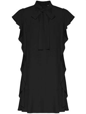 Crepe Envers Satin Ruffle Dress, Black