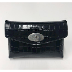 Mulberry Darley Cosmetic Pouch Shiny Croc Black  RL5805/069A100