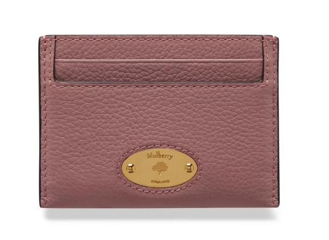 Mulberry Pung - Plaque Credit Card Slip Small Classic Grain Lyserød RL5469/205J955