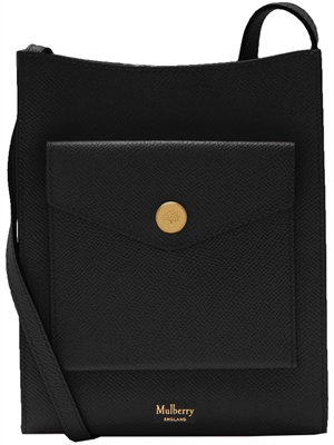 Press Stud Medium Phone Pouch, Black Grain - Mulberry