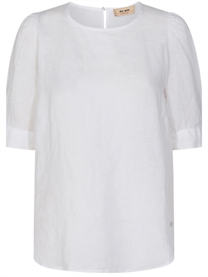 Dee SS Linen Bluse, Hvid