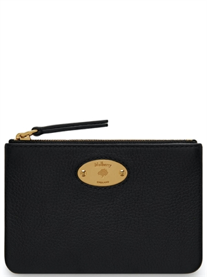 Plaque Small Zip Coin Pung Black Classic Grain Mulberry