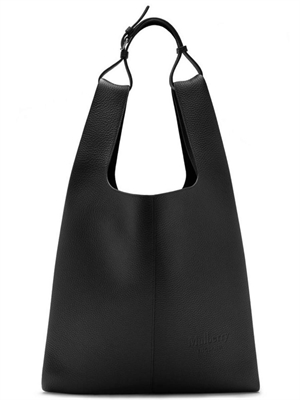 Oversized Portobello Tote Black Heavy Grain
