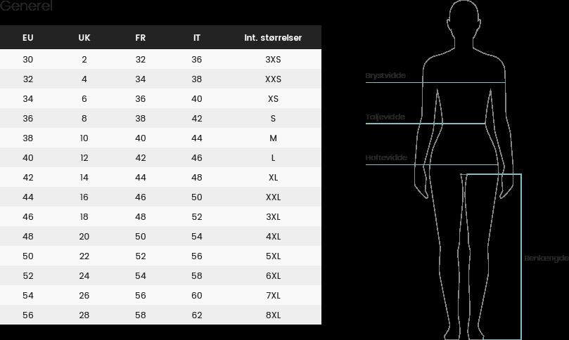 8b0ad7dc6d2 Herunder finder du en generel størrelsesguide til kvinder. Længede nede på  siden finder du en mere specifik størrelsesguide for de enkelte brands